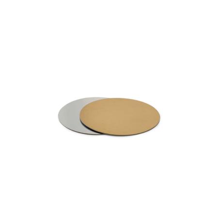 Podkład pod tort prostokątny sztywny, cienki, wytrzymały - Srebrno-Złoty Ø 13 cm, grubość 0,15 cm Decora