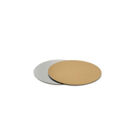 Podkład pod tort prostokątny sztywny, cienki, wytrzymały - Srebrno-Złoty Ø 15 cm, grubość 0,15 cm Decora