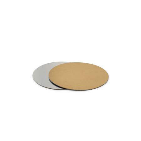 Podkład pod tort prostokątny sztywny, cienki, wytrzymały - Srebrno-Złoty Ø 20 cm, grubość 0,15 cm Decora