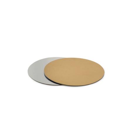 Podkład pod tort prostokątny sztywny, cienki, wytrzymały - Srebrno-Złoty Ø 22 cm, grubość 0,15 cm Decora