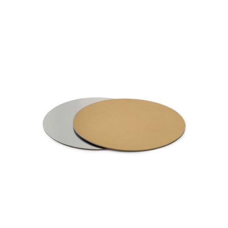 Podkład pod tort prostokątny sztywny, cienki, wytrzymały - Srebrno-Złoty Ø 24 cm, grubość 0,15 cm Decora