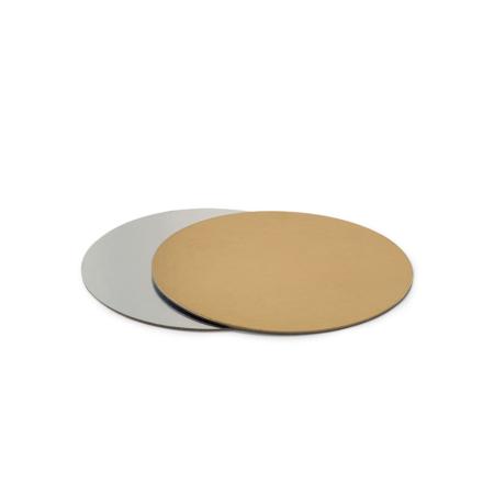 Podkład pod tort prostokątny sztywny, cienki, wytrzymały - Srebrno-Złoty Ø 26 cm, grubość 0,15 cm Decora