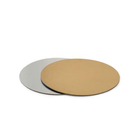 Podkład pod tort prostokątny sztywny, cienki, wytrzymały - Srebrno-Złoty Ø 28 cm, grubość 0,15 cm Decora