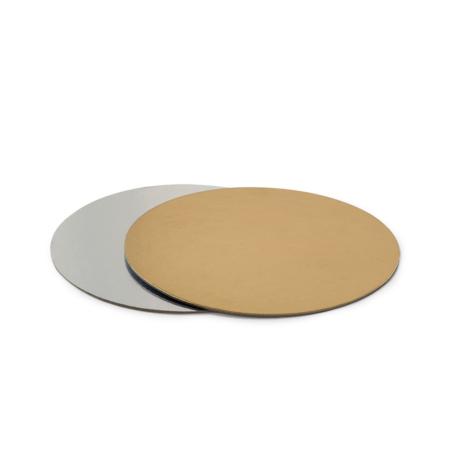 Podkład pod tort prostokątny sztywny, cienki, wytrzymały - Srebrno-Złoty Ø 30 cm, grubość 0,15 cm Decora
