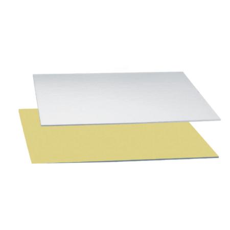 Podkład pod tort prostokątny sztywny, gruby, wytrzymały - Srebrno-Złoty 20x30 cm, grubość 0,15 cm Decora
