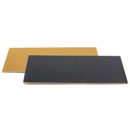 Podkład pod tort prostokątny sztywny, cienki, wytrzymały - Złoto-Czarny 30x40 cm, grubość 0,3 cm Decora