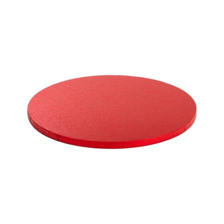 Podkład pod tort okrągły sztywny, gruby, wytrzymały - Czerwony - średnica: 35 cm, grubość: 1,2 cm - Decora
