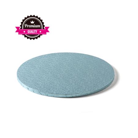 Podkład pod tort okrągły sztywny, gruby, wytrzymały - Jasnoniebieski, Błękitny - średnica: 25 cm, grubość: 1,2 cm - Decora