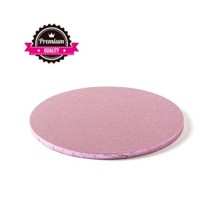 Podkład pod tort okrągły sztywny, gruby, wytrzymały - Różowy - średnica: 25 cm, grubość: 1,2 cm - Decora