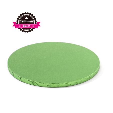 Podkład pod tort okrągły sztywny, gruby, wytrzymały - Jasnozielony - średnica: 35 cm, grubość: 1,2 cm - Decora