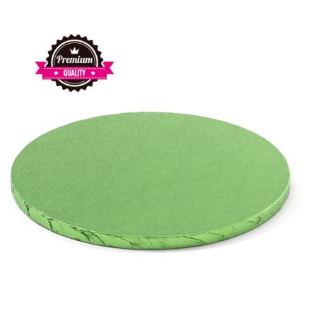 Podkład pod tort okrągły sztywny, gruby, wytrzymały - Jasnozielony - średnica: 40 cm, grubość: 1,2 cm - Decora