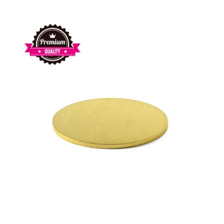 Podkład pod tort okrągły sztywny, gruby, wytrzymały - Złoty - średnica: 20 cm, grubość: 1,2 cm - Decora