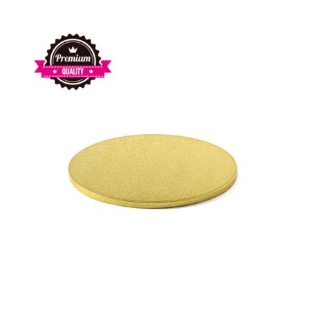 Podkład pod tort okrągły sztywny, gruby, wytrzymały - Złoty - średnica: 22 cm, grubość: 1,2 cm - Decora