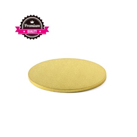 Podkład pod tort okrągły sztywny, gruby, wytrzymały - Złoty - średnica: 25 cm, grubość: 1,2 cm - Decora