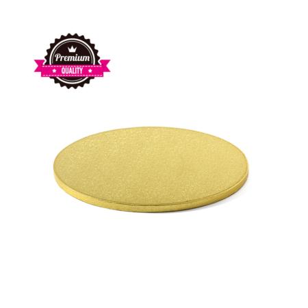 Podkład pod tort okrągły sztywny, gruby, wytrzymały - Złoty - średnica: 30 cm, grubość: 1,2 cm - Decora
