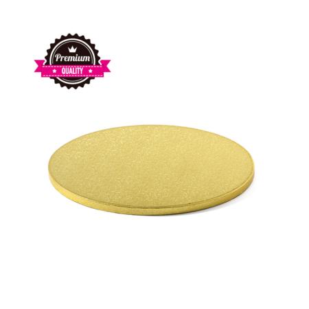 Podkład pod tort okrągły sztywny, gruby, wytrzymały - Złoty - średnica: 34 cm, grubość: 1,2 cm - Decora