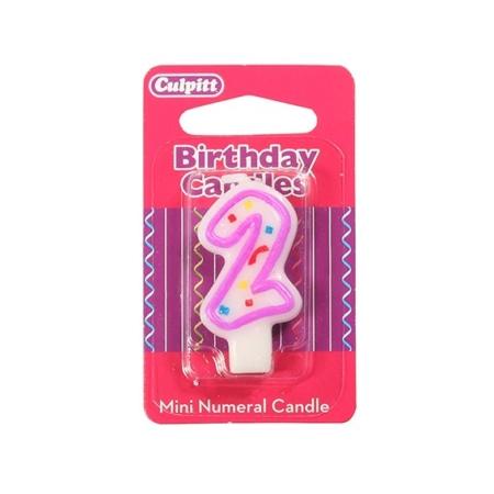 Świeczka Urodzinowa Różowa Confetti - Cyfra 2