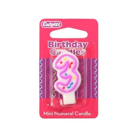 Świeczka Urodzinowa Różowa Confetti - Cyfra 3