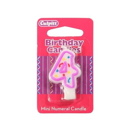 Świeczka Urodzinowa Różowa Confetti - Cyfra 4