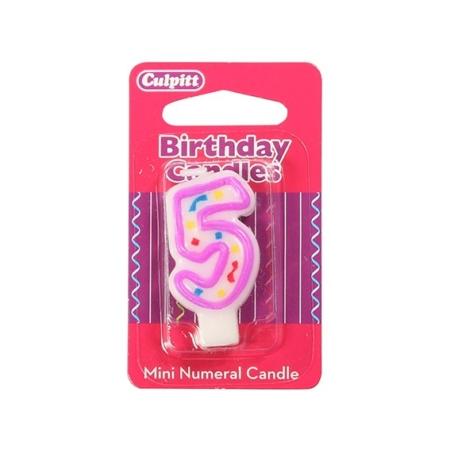Świeczka Urodzinowa Różowa Confetti - Cyfra 5