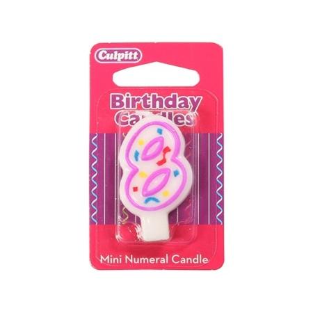 Świeczka Urodzinowa Różowa Confetti - Cyfra 7
