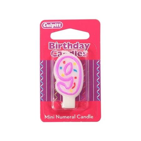 Świeczka Urodzinowa Różowa Confetti - Cyfra 9