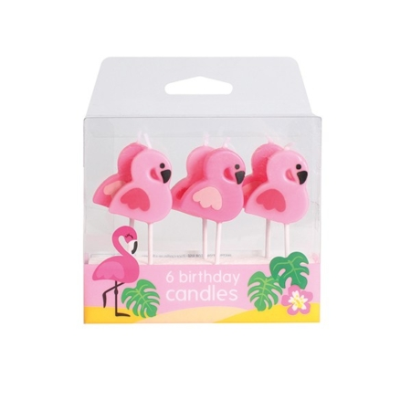 Świeczki Urodzinowe Flamingi - 6 szt. - Culpitt