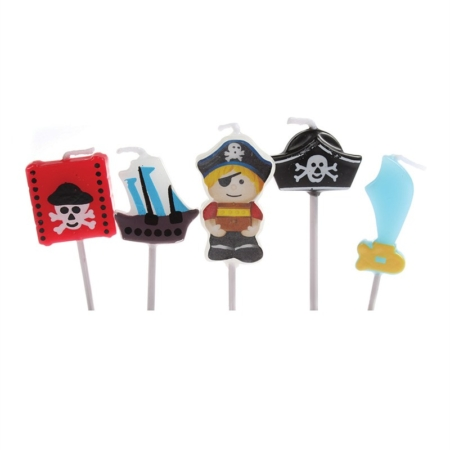Świeczki Urodzinowe Pirat, Statek Piracki, Miecz, Skrzynia i Kapelusz Piracki - 5 szt. - Culpitt