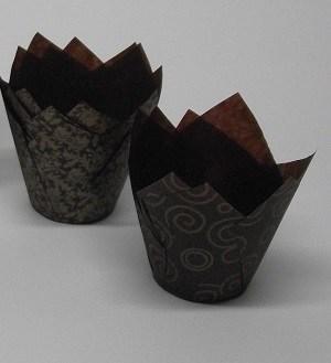 Papilotki Brązowe Tulipan - Złoty Wzór - 50 szt. - Easybake
