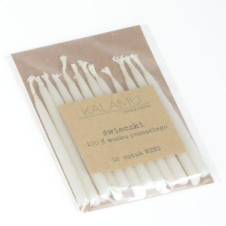 Świeczki Naturalne z wosku pszczelego - Białe Mini – 12 szt. - Kalamu