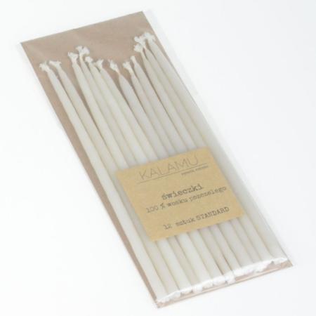 Świeczki Naturalne z wosku pszczelego - Białe Standard – 12 szt. - Kalamu