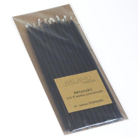 Świeczki Naturalne z wosku pszczelego - Czarne Standard – 12 szt. - Kalamu