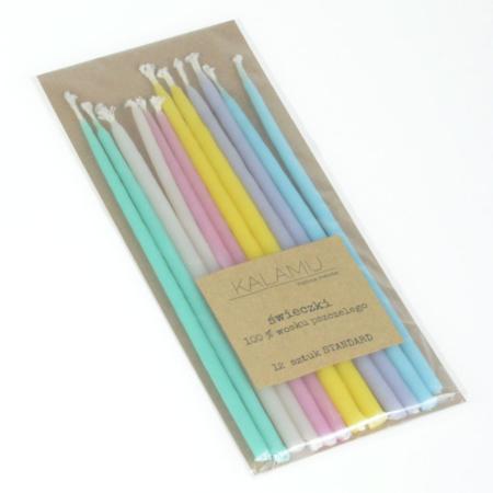 Świeczki Naturalne z wosku pszczelego - Pastelowe Standard – 12 szt. - Kalamu