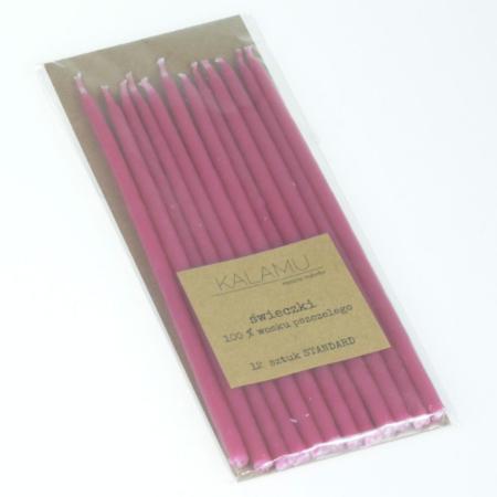 Świeczki Naturalne z wosku pszczelego - Różowe Standard – 12 szt. - Kalamu