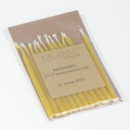 Świeczki Naturalne z wosku pszczelego - Żółte Mini – 12 szt. - Kalamu