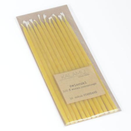 Świeczki Naturalne z wosku pszczelego - Żółte Standard – 12 szt. - Kalamu