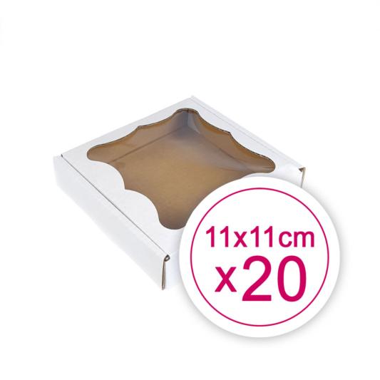 Pudełko na ciasteczka, pierniki, z okienkiem białe kwadratowe 11 x 11 x 2,4 cm - 20 szt.