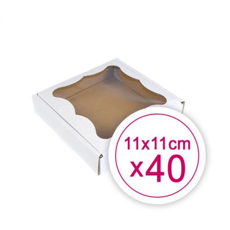 Pudełko na ciasteczka, pierniki, z okienkiem białe kwadratowe 11 x 11 x 2,4 cm - 40 szt.