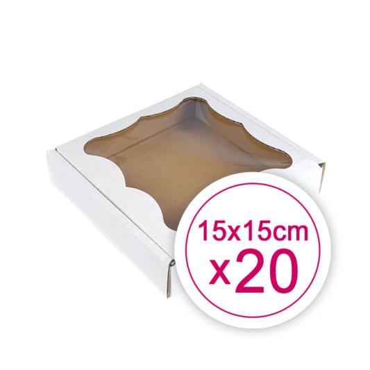 Pudełko na ciasteczka, pierniki, z okienkiem białe kwadratowe 15 x 15 x 2,4 cm - 20 szt.