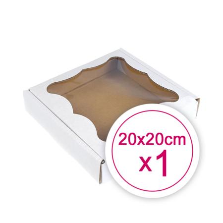 Pudełko na ciasteczka, pierniki, z okienkiem białe kwadratowe 20 x 20 x 2,4 cm - 1 szt.
