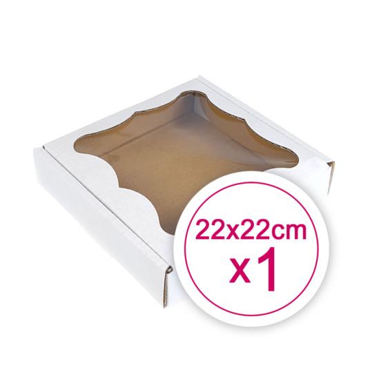 Pudełko na ciasteczka, pierniki, z okienkiem białe kwadratowe 22 x 22 x 2,4 cm - 1 szt.