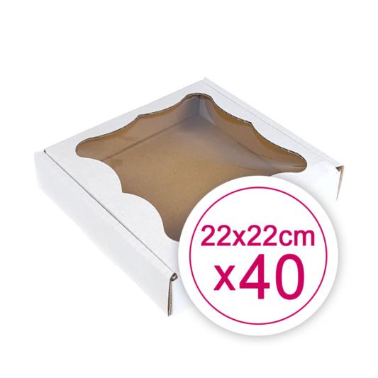 Pudełko na ciasteczka, pierniki, z okienkiem białe kwadratowe 22 x 22 x 2,4 cm - 40 szt.