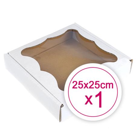 Pudełko na ciasteczka, pierniki, z okienkiem białe kwadratowe 25 x 25 x 2,4 cm - 1 szt.