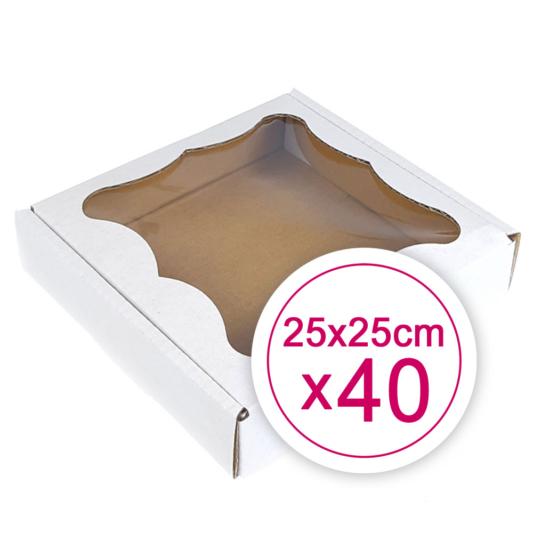 Pudełko na ciasteczka, pierniki, z okienkiem białe kwadratowe 25 x 25 x 2,4 cm - 40 szt.