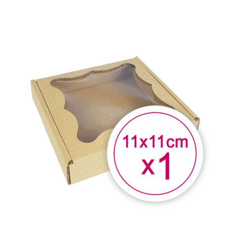 Pudełko na ciasteczka, pierniki, z okienkiem szare kwadratowe 11 x 11 x 2,4 cm - 1 szt.