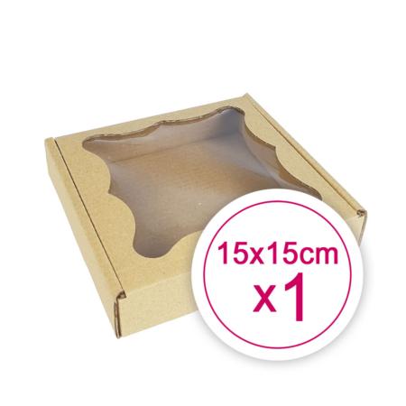 Pudełko na ciasteczka, pierniki, z okienkiem szare kwadratowe 15 x 15 x 2,4 cm - 1 szt.