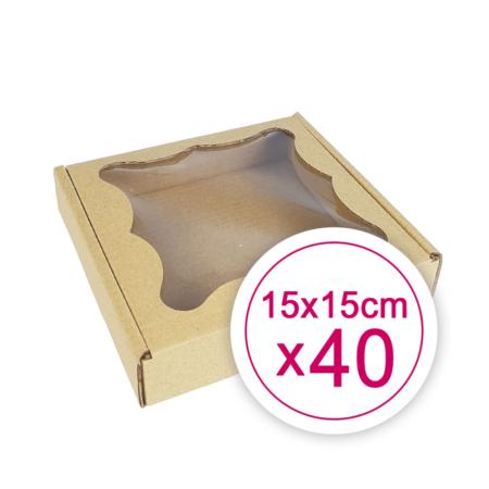 Pudełko na ciasteczka, pierniki, z okienkiem szare kwadratowe 15 x 15 x 2,4 cm - 40 szt.