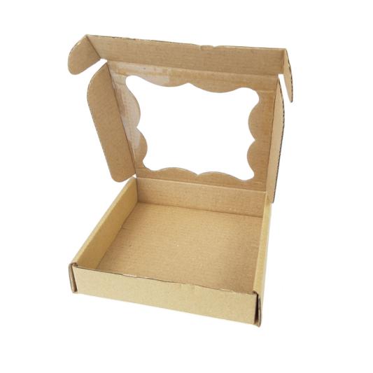 Pudełko na ciasteczka, pierniki, z okienkiem szare kwadratowe