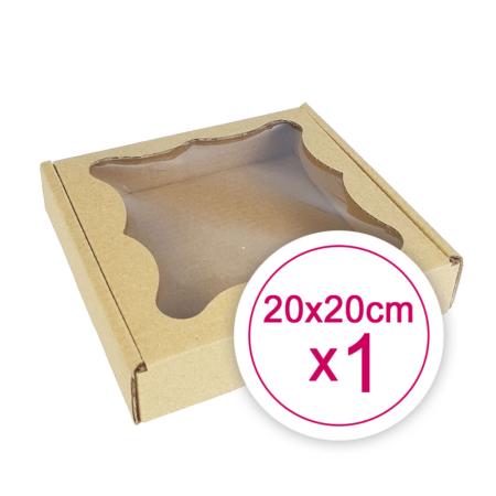 Pudełko na ciasteczka, pierniki, z okienkiem szare kwadratowe 20 x 20 x 2,4 cm - 1 szt.