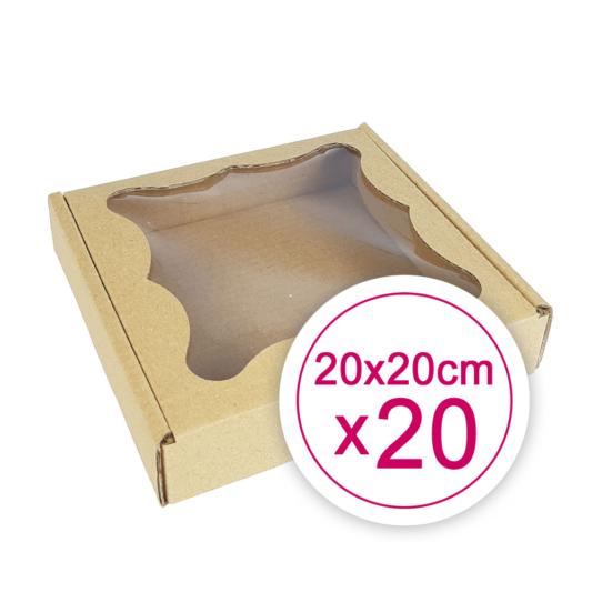 Pudełko na ciasteczka, pierniki, z okienkiem szare kwadratowe 20 x 20 x 2,4 cm - 20 szt.